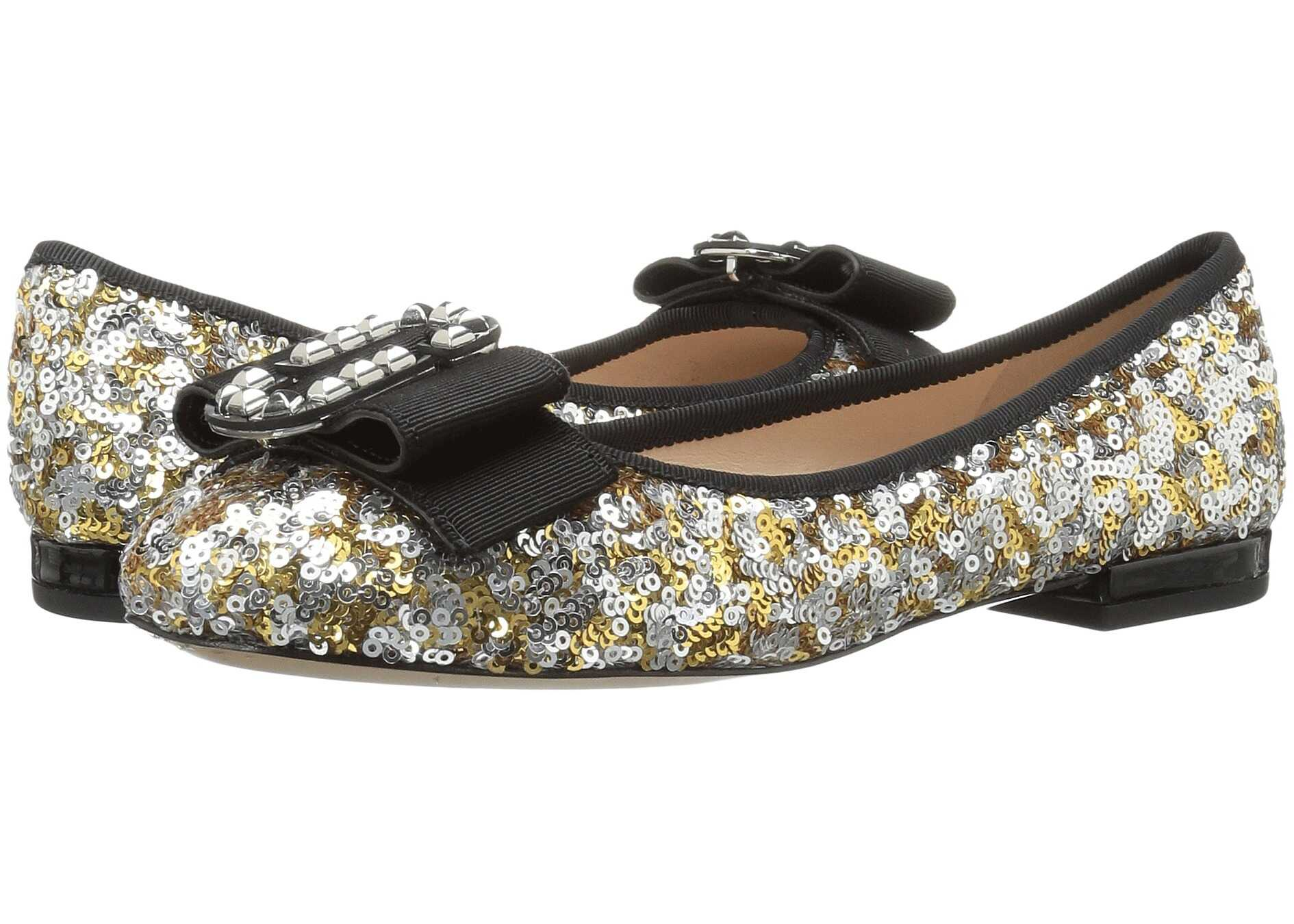 Marc Jacobs Interlock Round Toe Ballerina Gold/Silver
