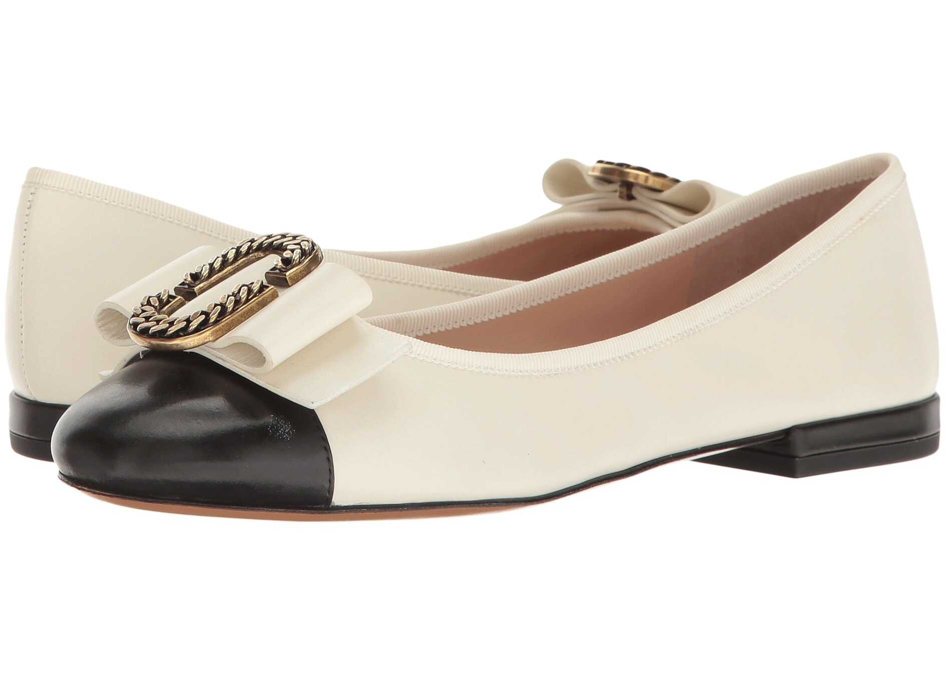 Marc Jacobs Interlock Round Toe Ballerina Ivory/Black