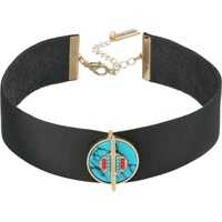 Coliere Black Leather Choker with Round Green Stone Charm Necklace Femei