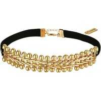 "Coliere Velvet Gold Tone Laced ""V"" Link Choker Necklace Femei"