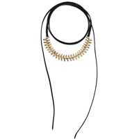 Coliere Suede Wrap Around Bead Choker Necklace Femei