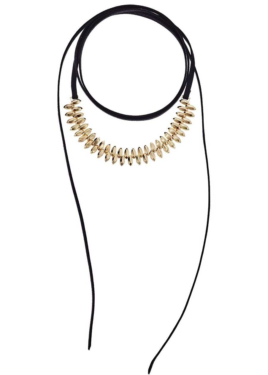 Steve Madden Suede Wrap Around Bead Choker Necklace Gold
