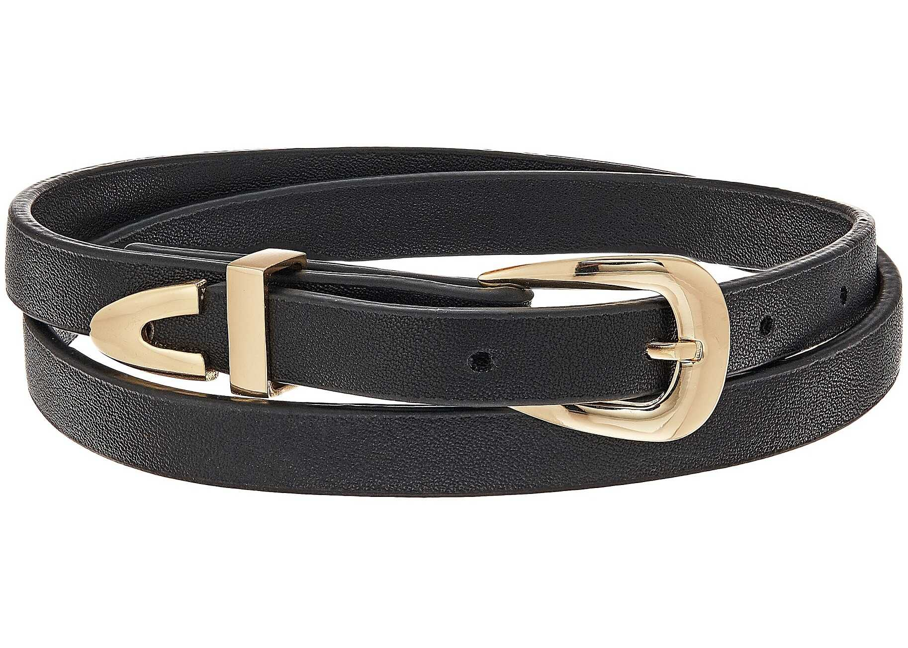 Steve Madden Leather Wrap Around Choker Necklace Gold
