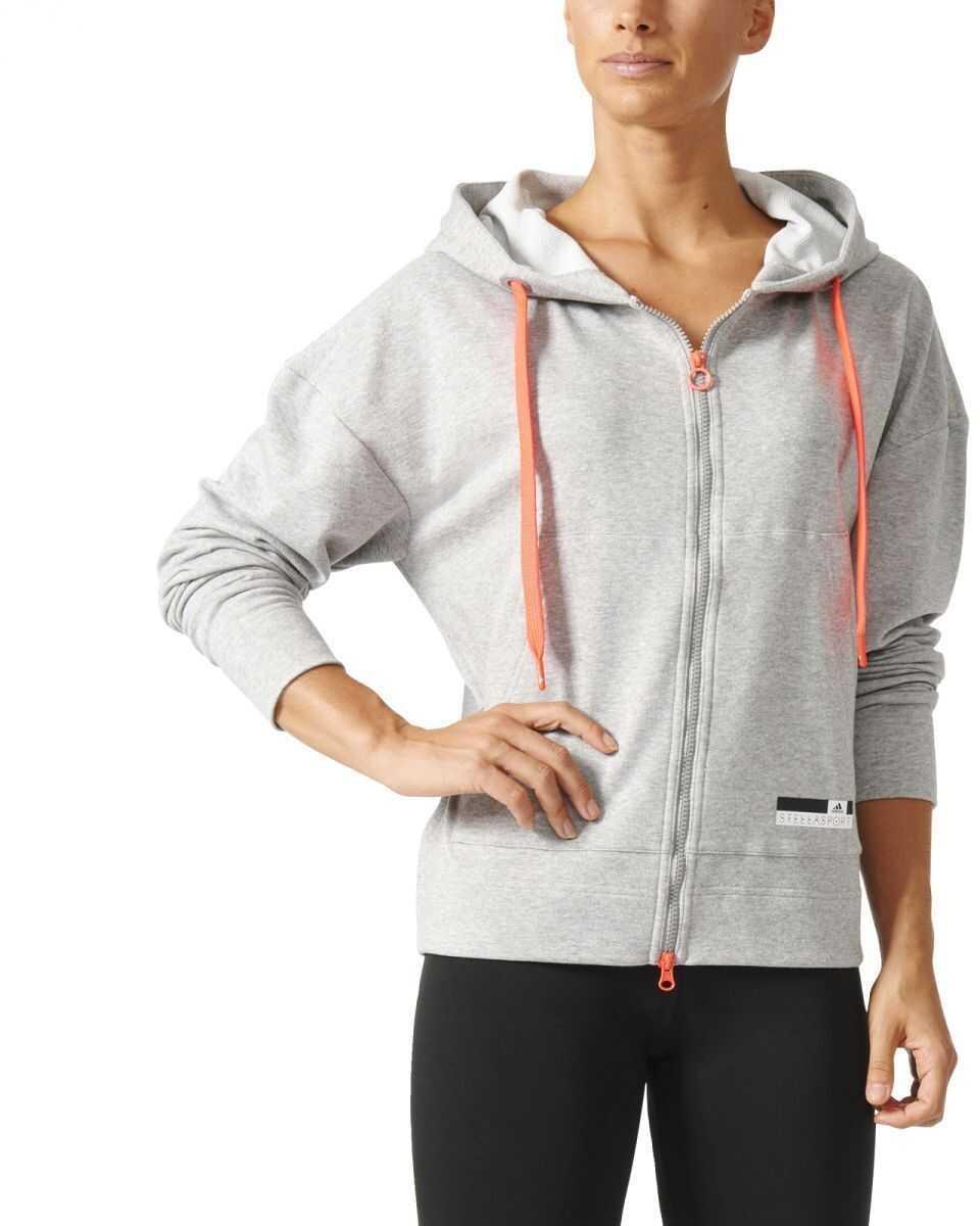 Bluza Sport Femei Adidas Zip Hoodie Mgreyh/white