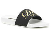 Dolce & Gabbana Embroidered Rubber Slides NERO/BIANCO