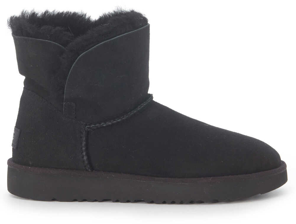 UGG Classic Cuff Mini Ankle Boots In Black Suede Leather Black