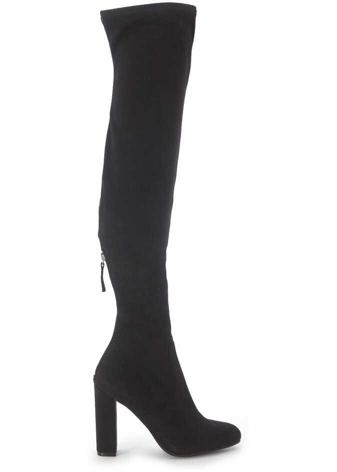 Steve Madden Emotions Black Micro Suede Boots Black