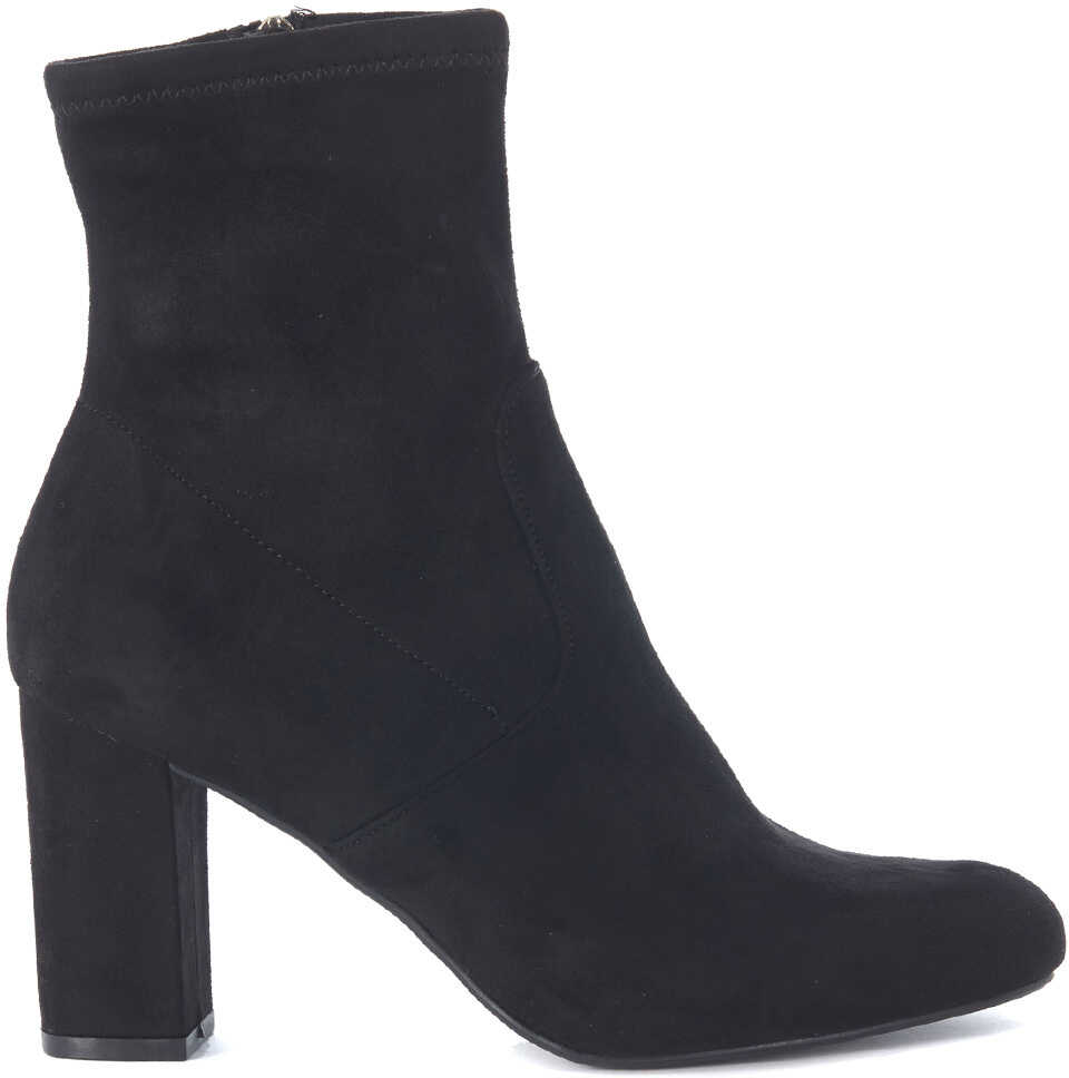 Steve Madden Avenue Black Micro Suede Ankle Boots Black