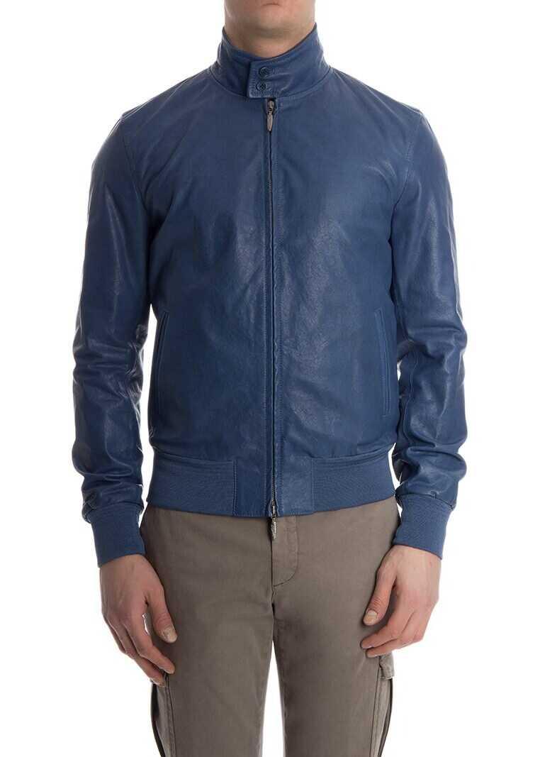 Stewart Leather Jacket Blue imagine