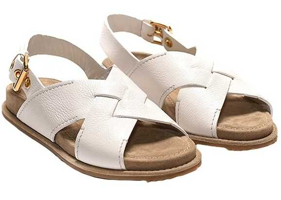 Car Shoe Leather Sandals White