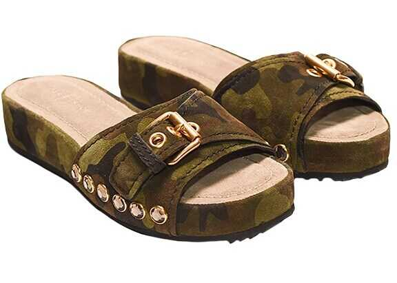 Car Shoe Leather Sandals Green