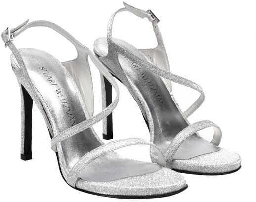 Stuart Weitzman Glitter Sandals Silver