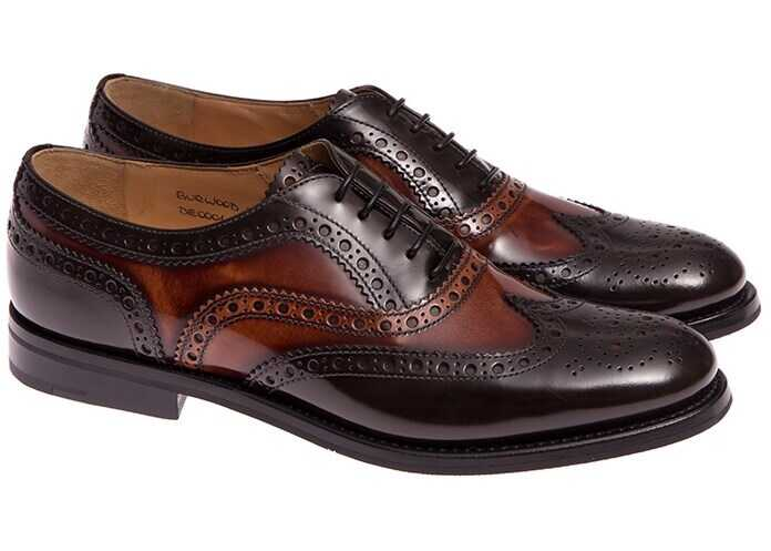 Church's Leather Shoes DE0001 POLISHED FUME' BROWN+TABAC Brown imagine b-mall.ro