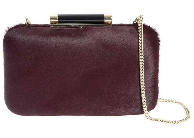 Diane von Furstenberg Slim Tonda Minaud Clutch Bag Red