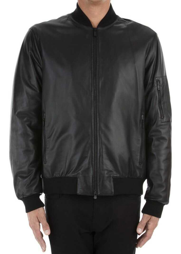 Z Zegna Leather Jacket Black imagine