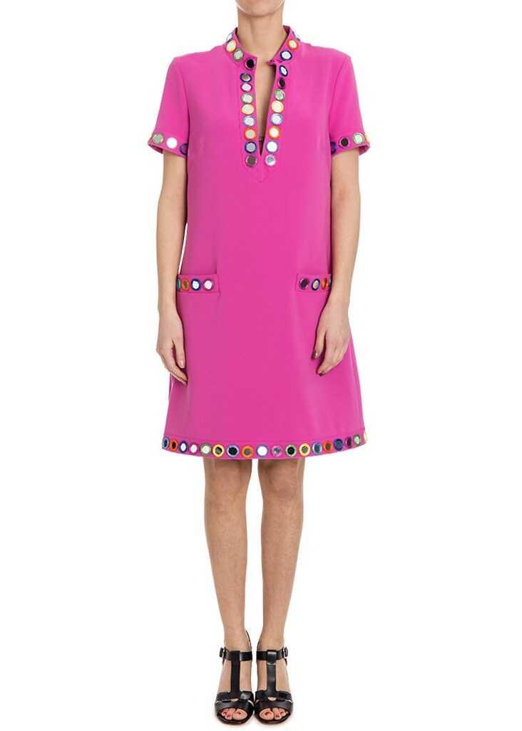 Moschino V-Neck Dress Fuchsia
