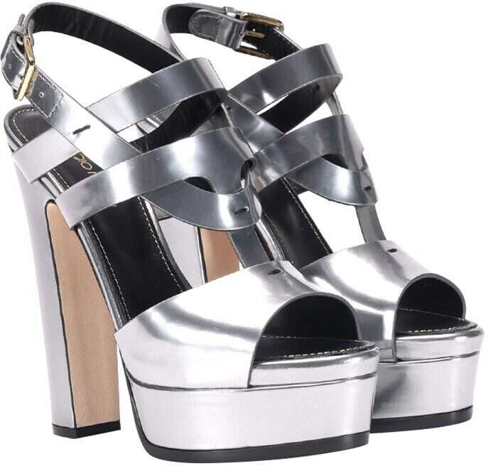 super popular 53556 77c82 Sergio Rossi Leather Sandals - Silver - Boutique Mall