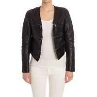 Geci de Piele Cropped Leather Zip Jacket Femei
