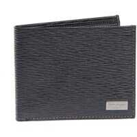 Portofele Black Textured Leather Wallet Barbati