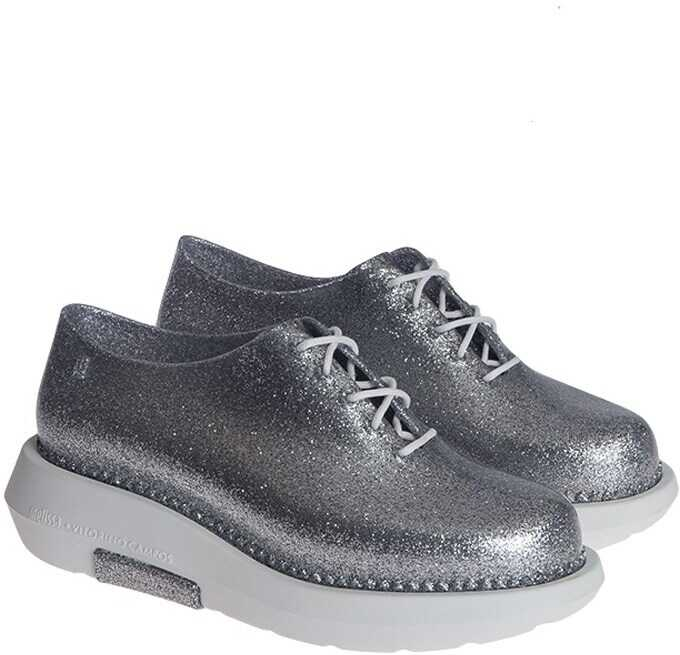 MELISSA Derby Shoes (Melissa + Vitorino Campos) 32227 52969 WHITE/GLASS GLITTER SILVER Silver imagine b-mall.ro