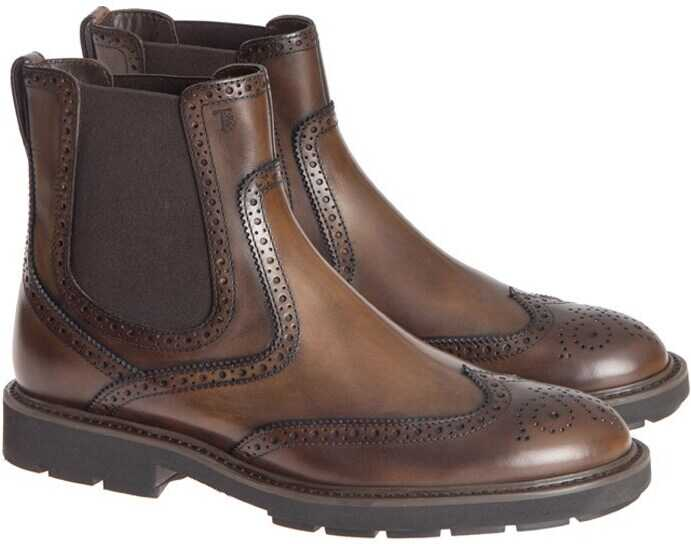 TOD'S Brogue Ankle Boots Brown