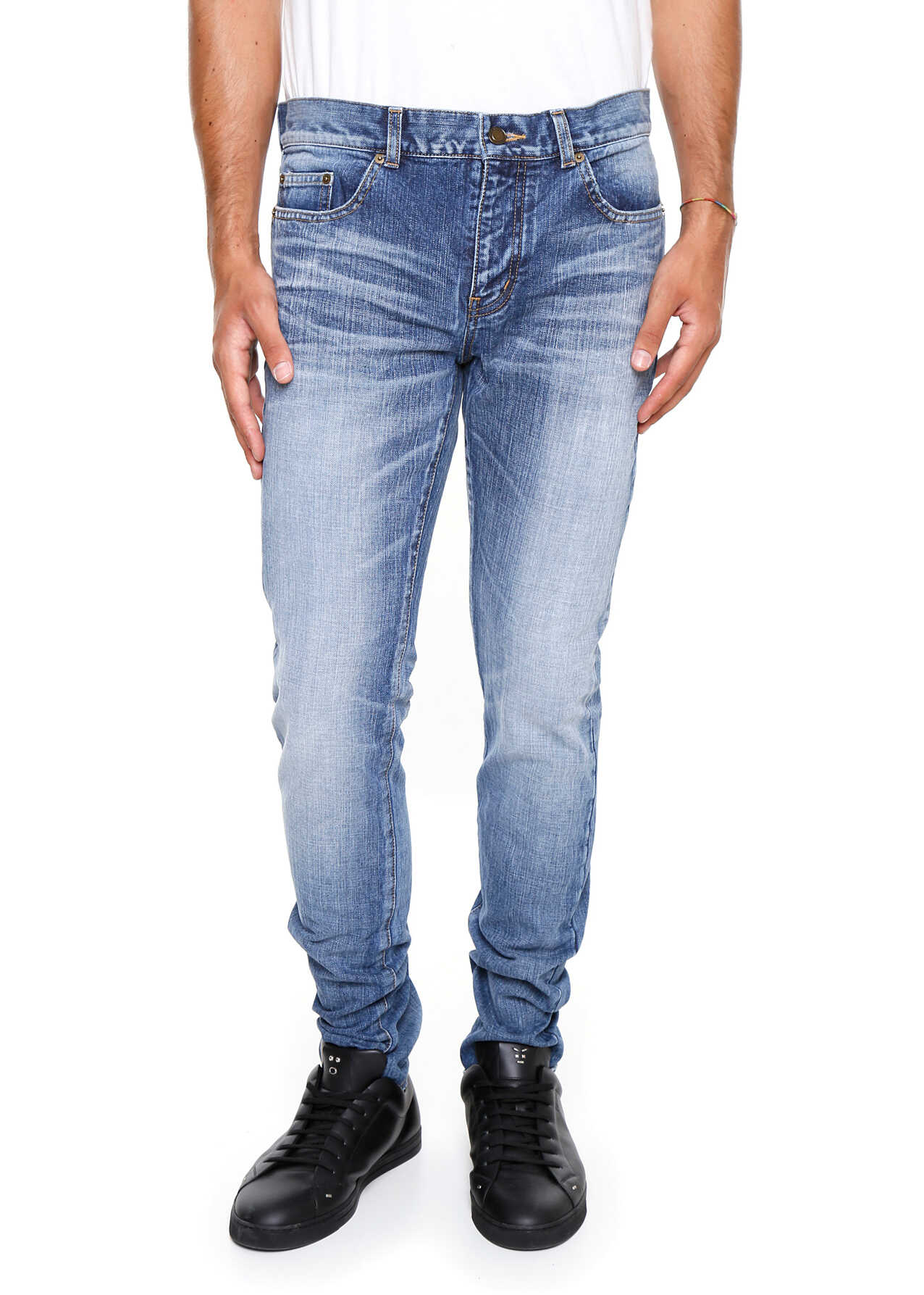 Saint Laurent Skinny Jeans With Patch DIRTY MEDIUM BLUE