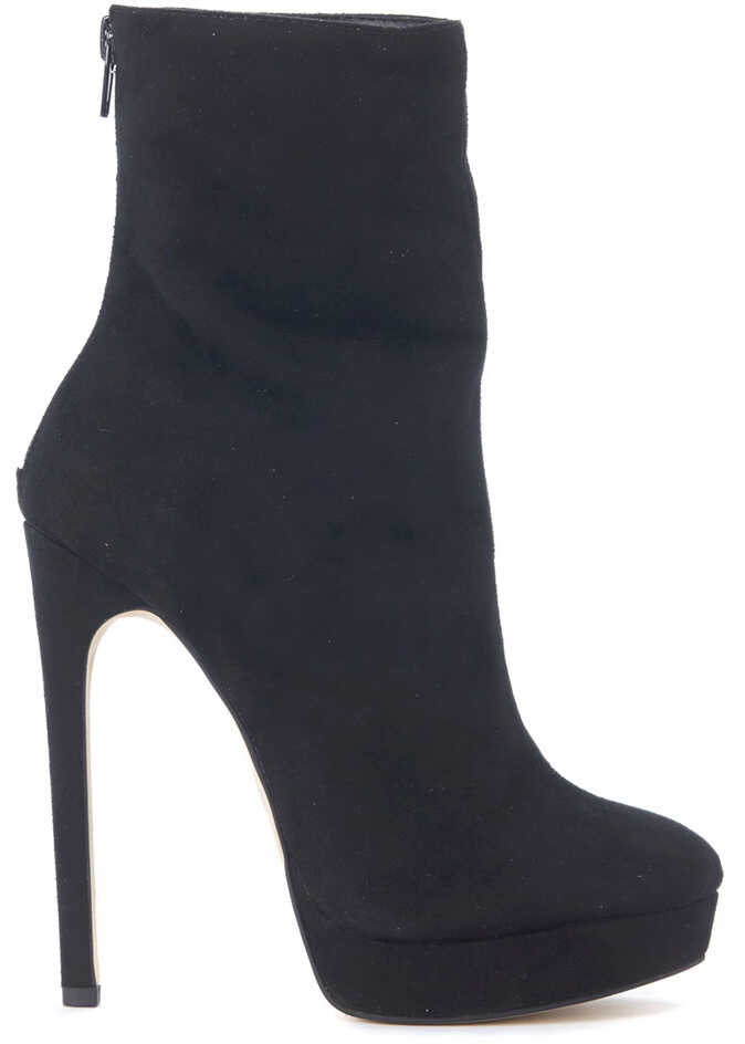 Steve Madden Black Suede Leather Ankle Boots Black