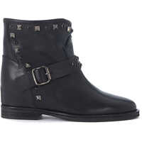 Ghete & Cizme In Black Leather Ankle Boots With Studs And Buckles Femei