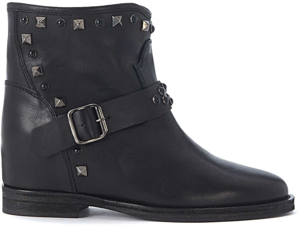 Via Roma 15 In Black Leather Ankle Boots With Studs And Buckles Black