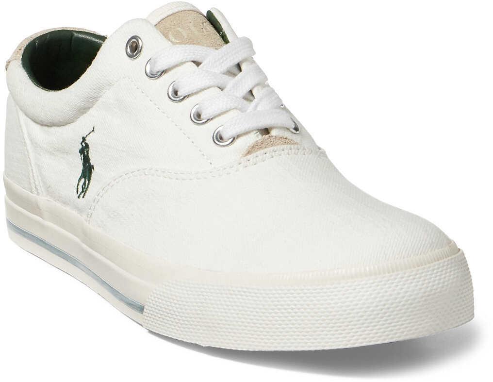 Ralph Lauren Vaughn Washed Twill Sneaker* White