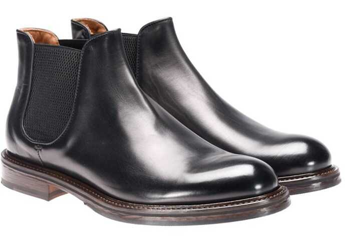 Doucals Brushed Leather Ankle Boots Black