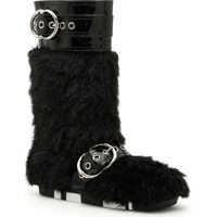 Cizme lungi Faux Shearling And Patent Boots Femei