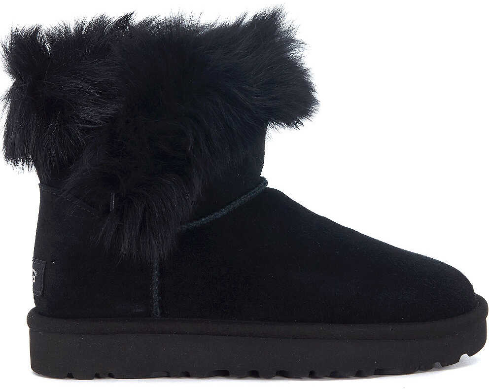 UGG Milla Ankle Boots In Suede And Tuscan Sheepskin Leather Black