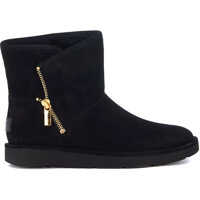 Ghete & Cizme Mini Kip Ankle Boots In Black Suede Leather With Zip Femei