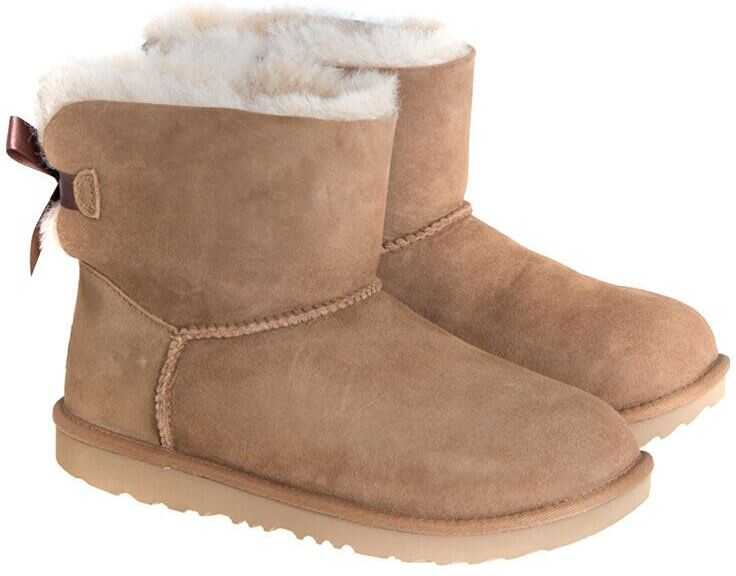 UGG K Mini Bailey Bow Ii Ankle Boots Beige