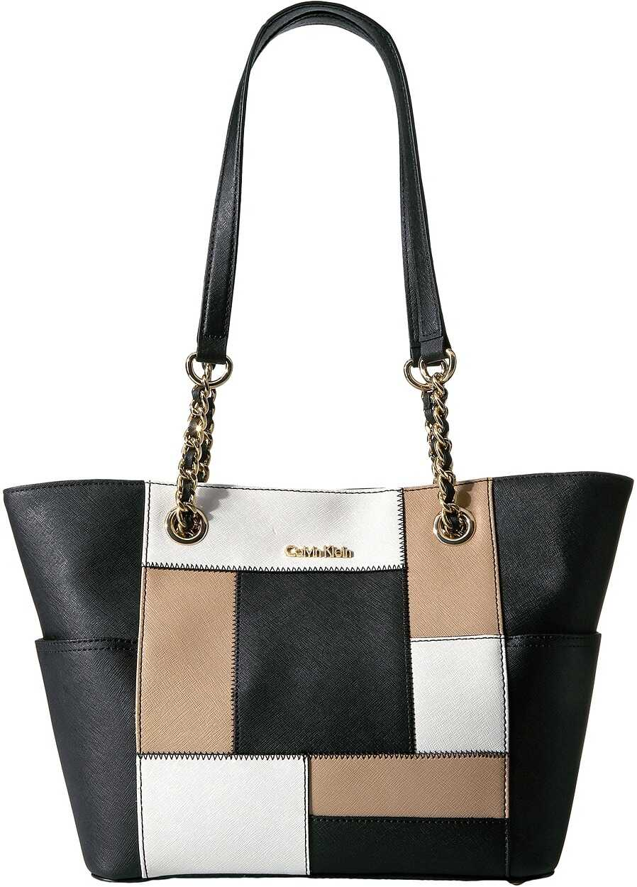 Calvin Klein Key Item Saffiano Tote Black/White/Nude Patchwork