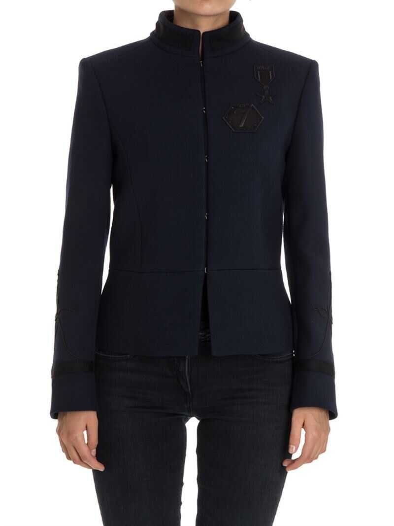 Karl Lagerfeld Wool Blend Jacket Blue