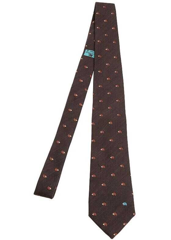 ETRO Wool And Silk Tie Brown