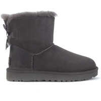 Ghete & Cizme Bailey Mini Ankle Boot In Grey Suede With Bow Femei