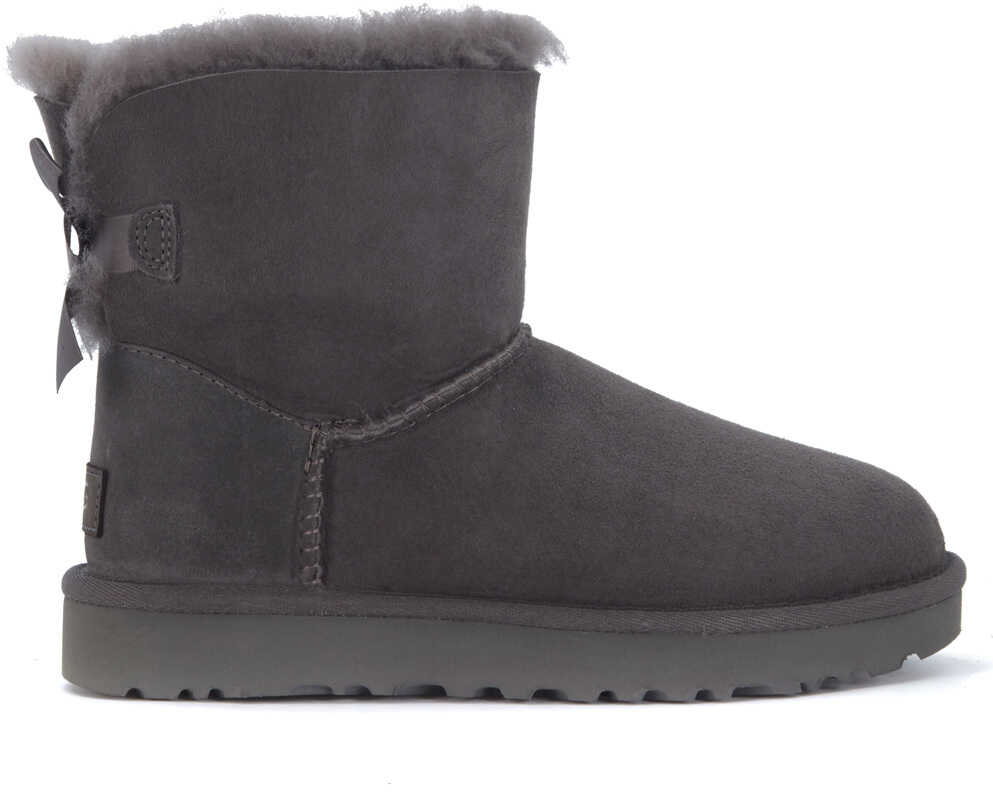 UGG Bailey Mini Ankle Boot In Grey Suede With Bow Grey