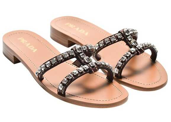 Prada Sandals With Rhinestones Brown