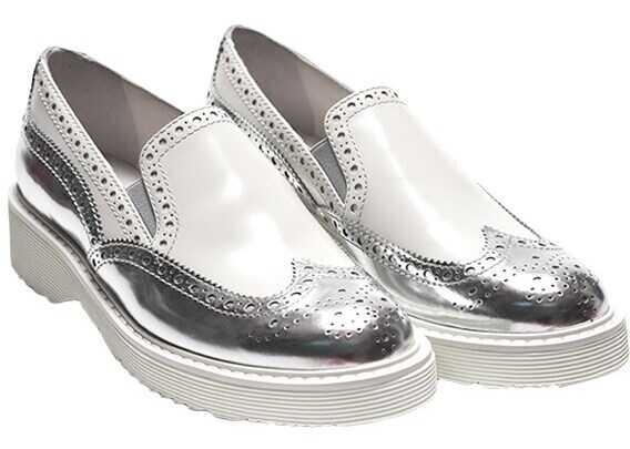 Prada Silver Loafers White