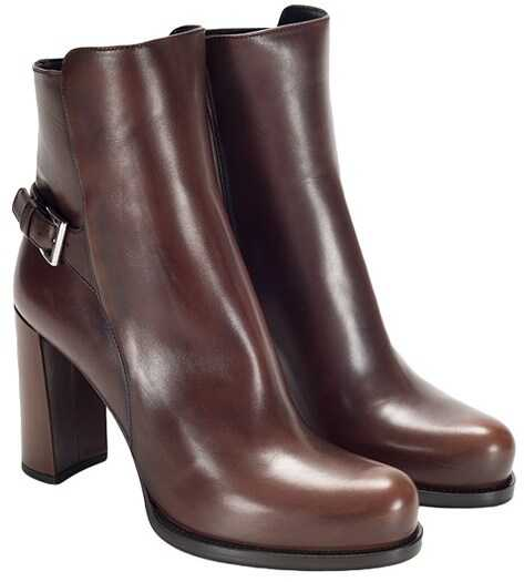 Prada Leather Ankle Boots Brown