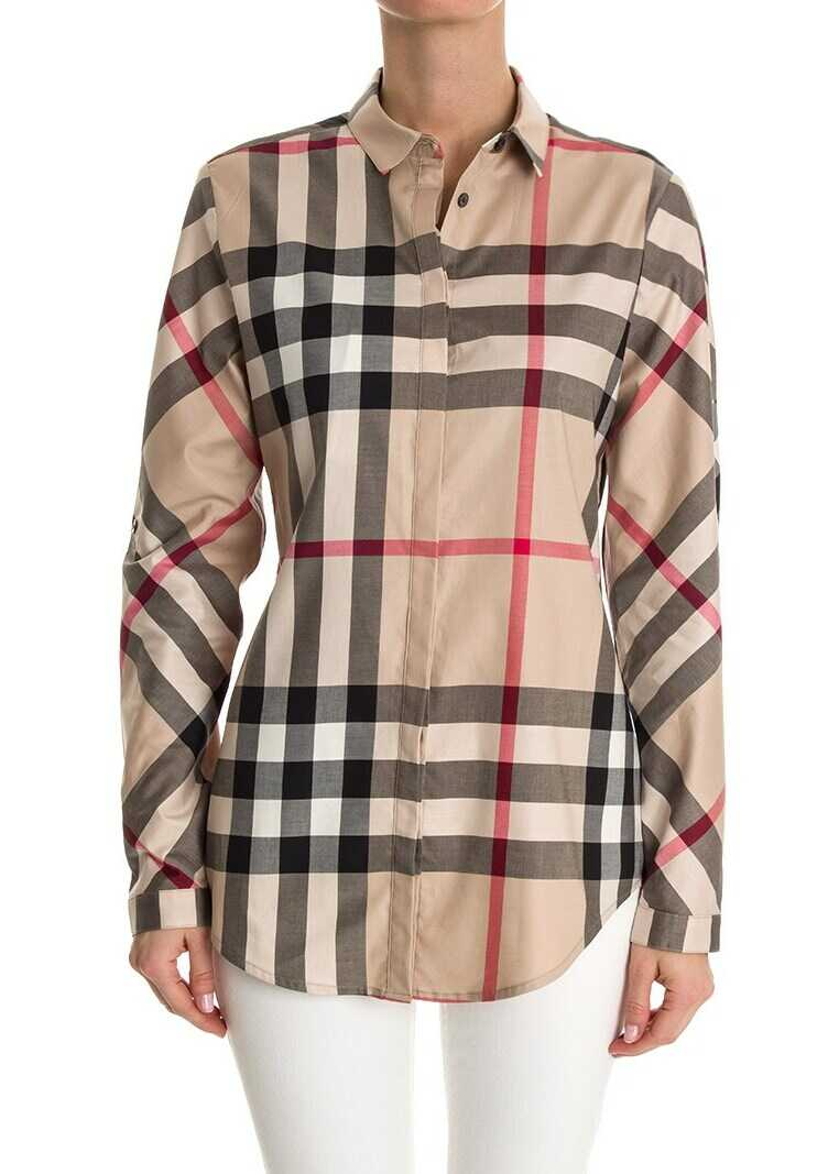 Burberry Cotton Shirt Camel