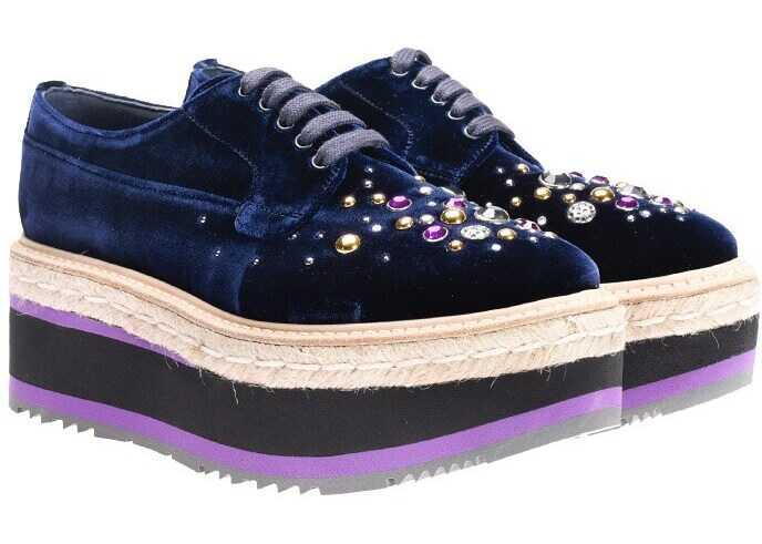 Prada Velvet Shoes Blue