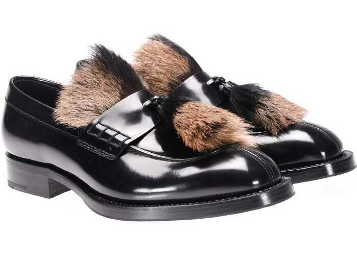 Prada Brushed Leather Moccasins 2DG088 3V1J F0889 Black imagine b-mall.ro
