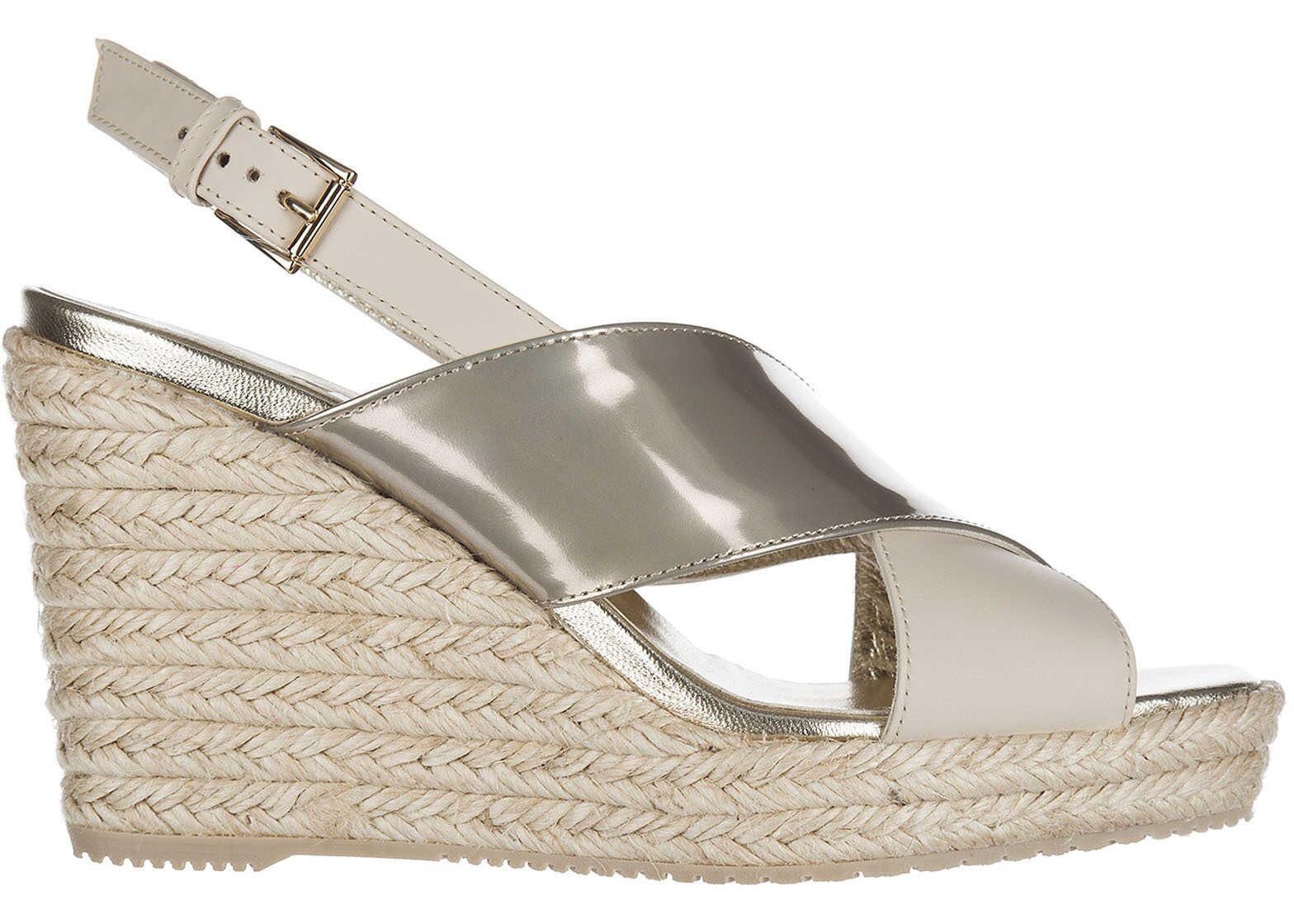 Hogan Wedges Sandals Beige