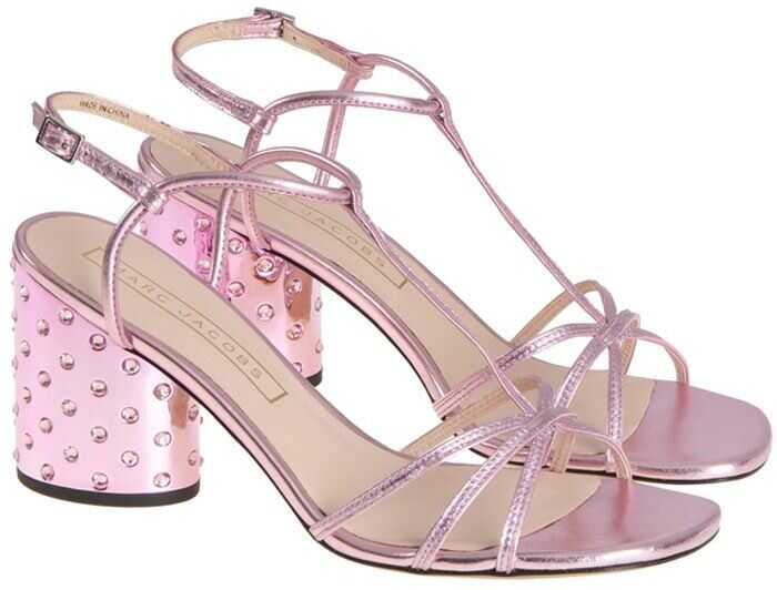 Marc Jacobs Laminated Leather Sandals Pink