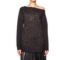 Pulovere Long knitted pullover with rhinestones Femei