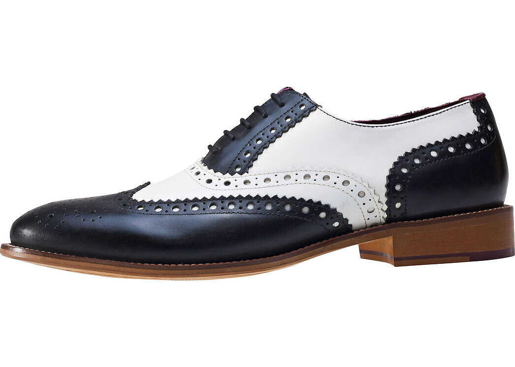 London Brogues Handcrafted Gatsby Brogues In Black White Black
